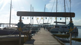 Our pier at El Milagro Marina, Isla Mujeres, we are at the end
